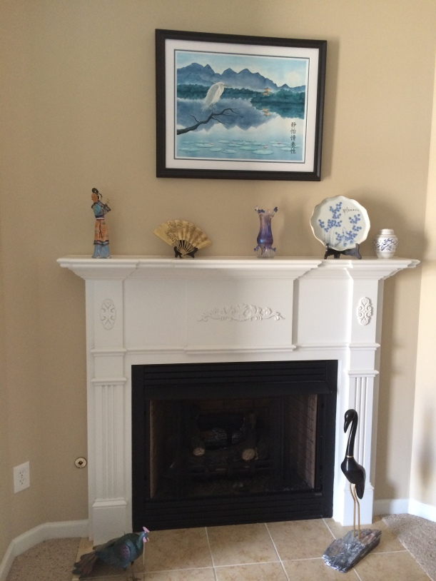 Watercolor above Fireplace